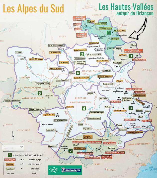 Mappa Alpi del Sud nella Guida Verde Michelin
