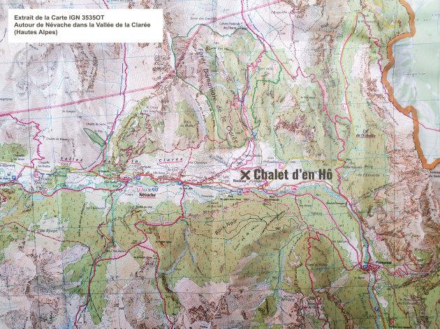 Estratto della mappa IGN 3535OT: Intorno a Névache nella Valle della Clarée (Alpi francesi)